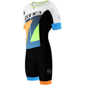 Zone3 Lava Combinaison de triathlon Aero à manches courtes Homme, ltd ed-black/white/orange/blue/yellow